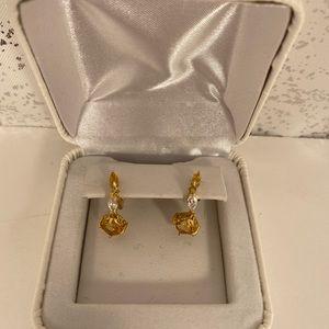 Jewelry - Genuine Citrine & Cubic Zirconia Earrings